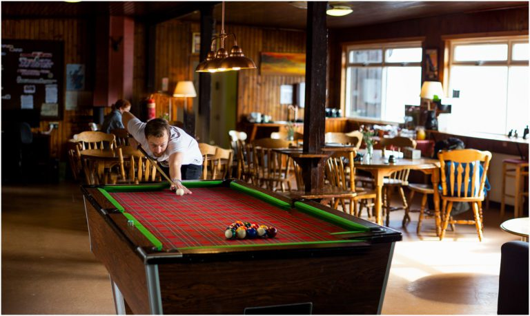 Pool table of Lochside Hostel