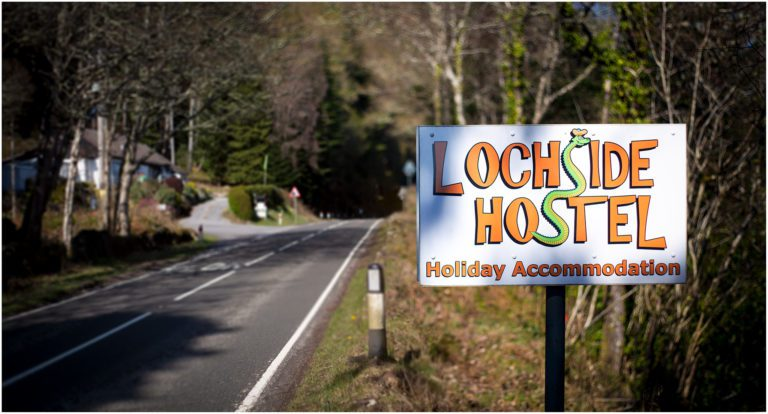 Lochside Hostel Sign