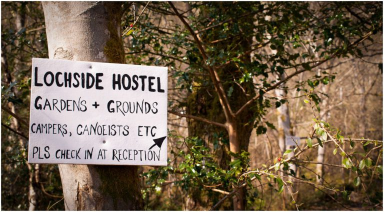 Sign at Lochside Hostel