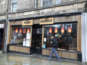 Maki Ramen shop front Edinburgh - Gluten Free Edinburgh