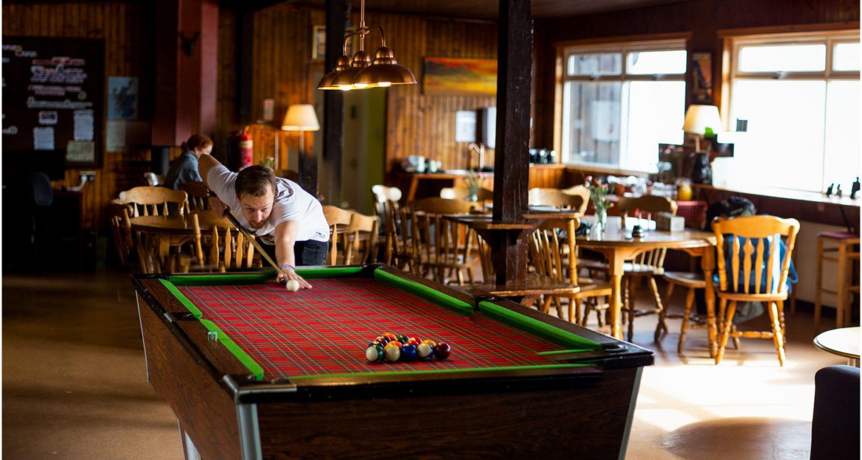Pool table of Lochside Hostel